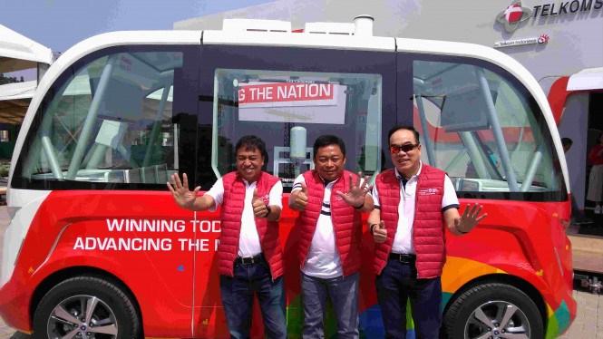 Telkomsel Pamer Bus Tanpa Sopir saat Asian Games 2018
